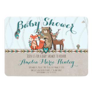 Invitation tribale de baby shower de créatures de