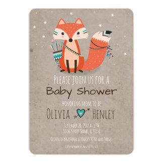 Invitation tribale de baby shower de Fox de région