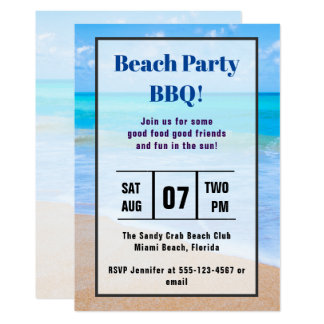 Invitation tropical de BBQ de plage de photo de