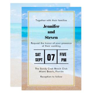 Invitation tropical de mariage de photo de scène