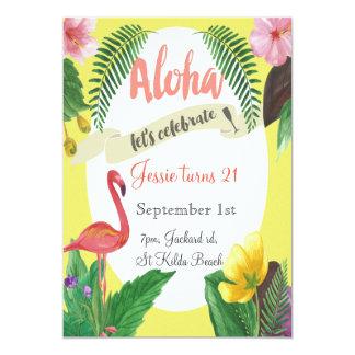 Invitation tropicale d'anniversaire 5 x 7 pouces