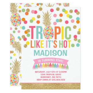 Invitation tropicale d'anniversaire d'ananas