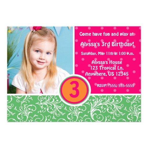 Invitation tropicale d'anniversaire de filles d'am