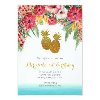 Invitation tropicale d'anniversaire d'été