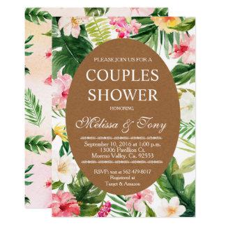 Invitation tropicale de douche de couples