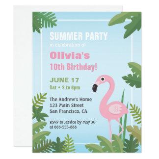 Invitation tropicale de fête d'anniversaire d'été