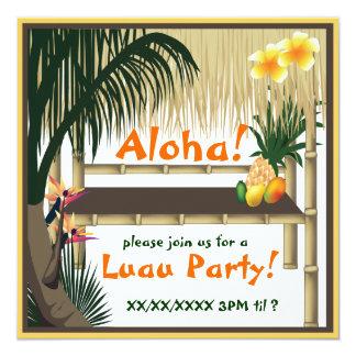 Invitation tropicale de hutte de Tiki de partie de