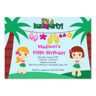 Invitation tropicale mignonne d'anniversaire de