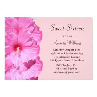 Invitation tropicale rose d'anniversaire