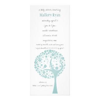 Invitation turquoise de baby shower d arbre fleuri