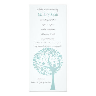 Invitation turquoise de baby shower d'arbre