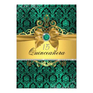 Invitation turquoise de Quinceanera de damassé