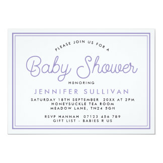Invitation typographique moderne de baby shower