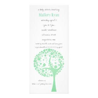 Invitation vert clair de baby shower d arbre fleur