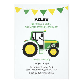 Invitation vert de fête d'anniversaire de tracteur