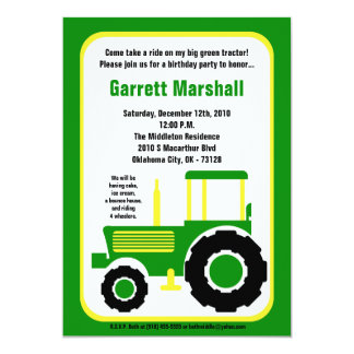 invitation verte d'anniversaire de tracteur de