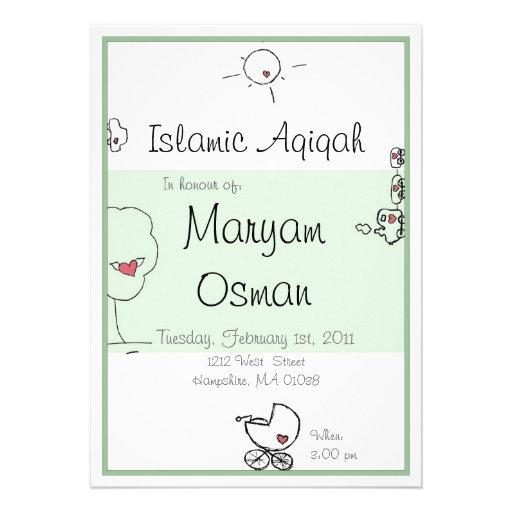 Invitation verte d 39 aqiqah avec le dessin mignon de zazzle - Dessin invitation ...