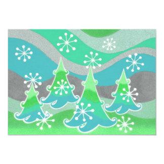 Invitation verte d'arbres d'hiver