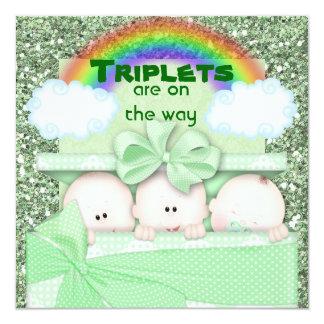 Invitation verte de baby shower de triplets