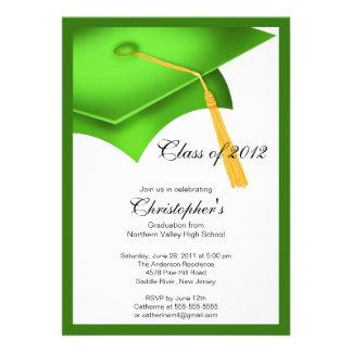 Invitation verte de fête de remise des diplômes de