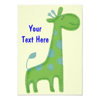 Invitation verte de girafe