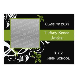 invitation verte de photo d'obtention du diplôme