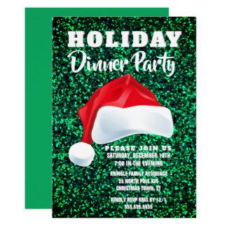 Invitation verte rouge de dîner de Noël de Père