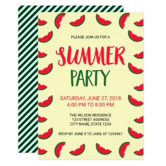 Invitation verte rouge de partie d'été de pastèque