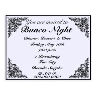 Invitation victorienne vintage de nuit de Bunco