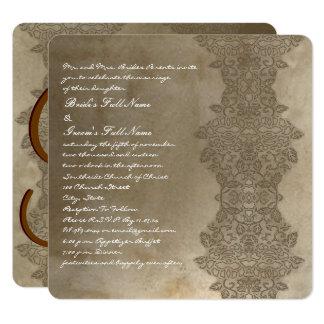 Invitation vintage carrée de Brown mariage damassé