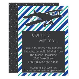 Invitation vintage d'anniversaire d'avion de bleu