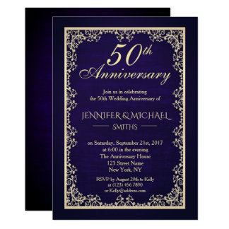 Invitation vintage d'anniversaire de mariage de