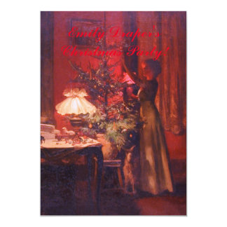 Invitation vintage d'arbre de Madame et de Noël