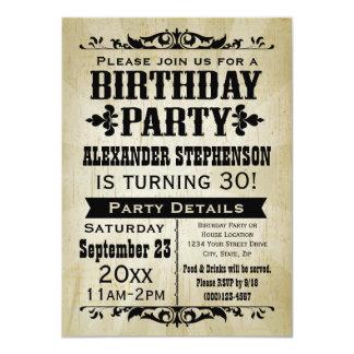 Invitation vintage d'autrefois de fête
