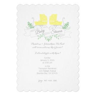 invitation vintage de BABY SHOWER de JUMEAU de