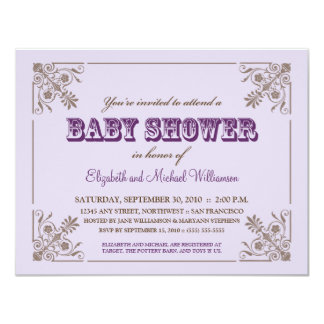 Invitation vintage de baby shower de lavande