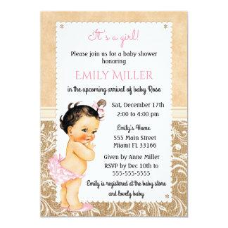 Invitation vintage de baby shower de toile de jute