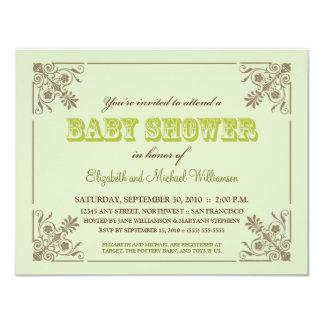 Invitation vintage de baby shower de vert de chaux