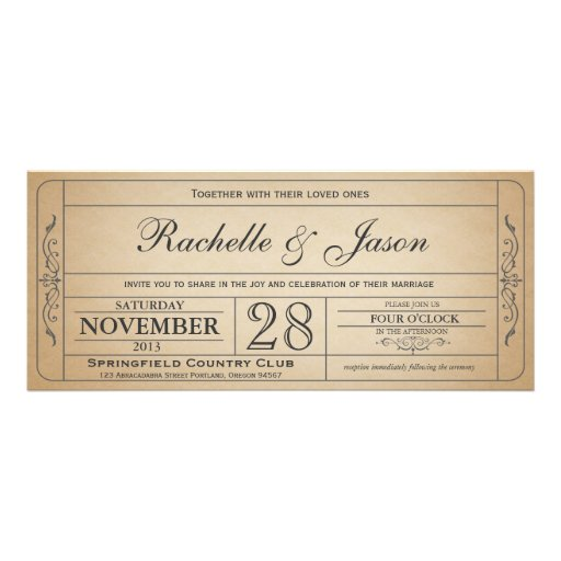Invitation vintage de billet de mariage