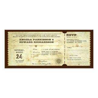 invitation vintage de billet de mariage avec la co