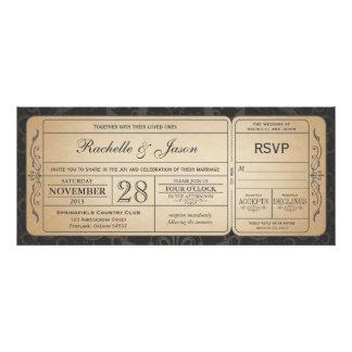 Invitation vintage de billet de mariage avec RSVP