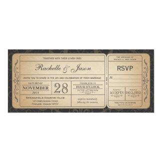 Invitation vintage de billet de mariage avec RSVP Carton D'invitation 10,16 Cm X 23,49 Cm