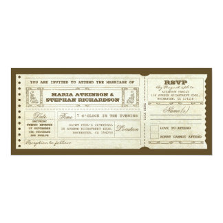 invitation vintage de billet de mariage et