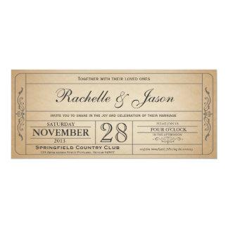 Invitation vintage de billet de mariage carton d'invitation  10,16 cm x 23,49 cm