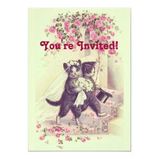Invitation vintage de chats de mariage