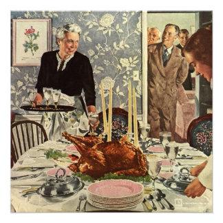 Invitation vintage de dîner de thanksgiving de fam