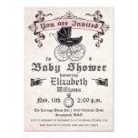 Invitation vintage de douche de bébé carton d'invitation  12,7 cm x 17,78 cm