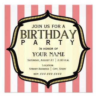 Invitation vintage de fête d'anniversaire