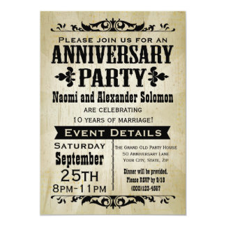 Invitation vintage de fête d'anniversaire de pays carton d'invitation  12,7 cm x 17,78 cm