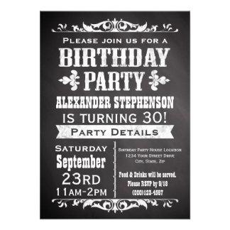 Invitation vintage de fête d'anniversaire de table